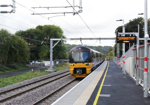 The next train to arrive at Apperley Bridge's brand new station is… cover image