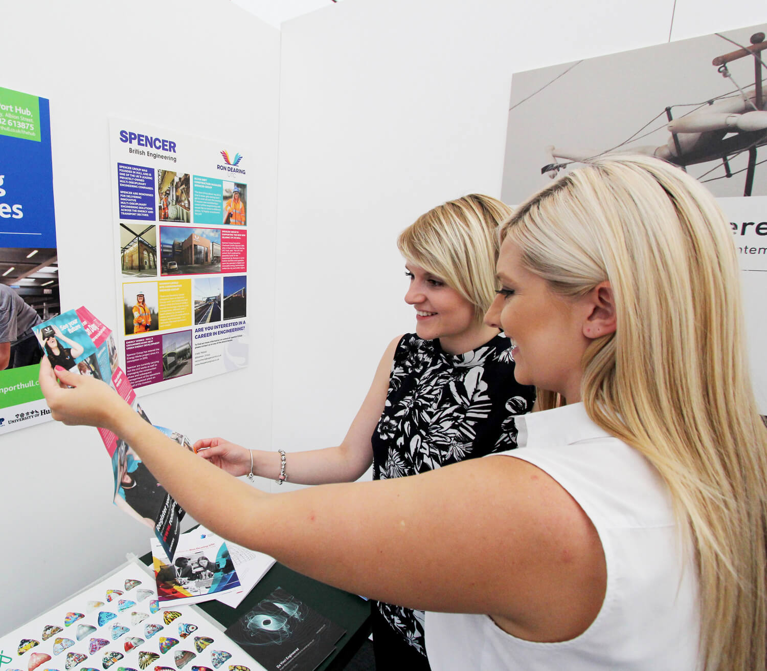 Spencer Group employees Sophie Farren and Claire Ransom at the Da Vinci Engineered Exhibition, Amy Johnson Festival